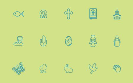 Set of two vector icons. Flat design Linear Ilustracja