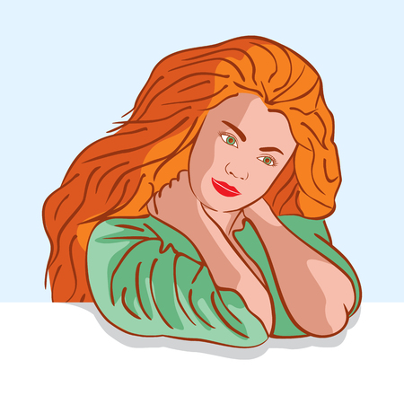 Vector illustration of the beautiful green-eyed woman. Basis for a greeting card. Flat design.