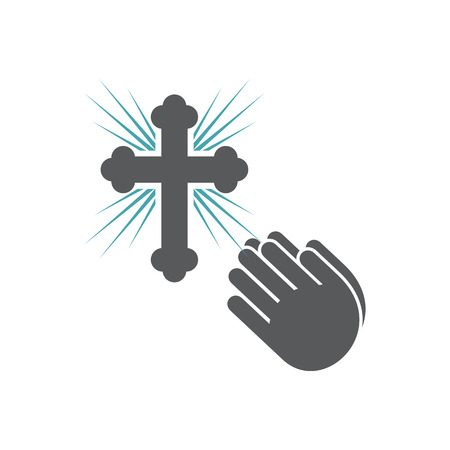 Vector illustration pleading gesture of hands and orthodox cross.