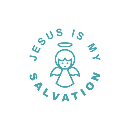 Text Jesus is my Salvation. Orthodox Christian and Catholic belief. Flat design.
