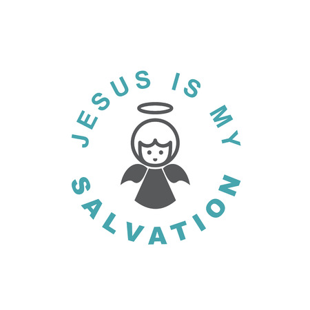 Text Jesus is my Salvation. Orthodox Christian and Catholic belief. Flat design. Monochrome