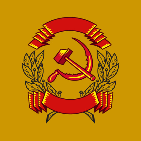 The state symbols of the USSR. Isolated elements on gold background.