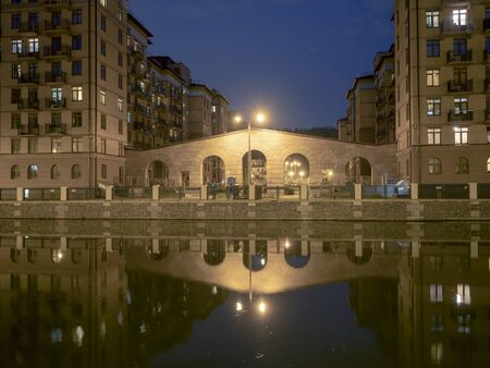 Night landscape of urban architecture of the city