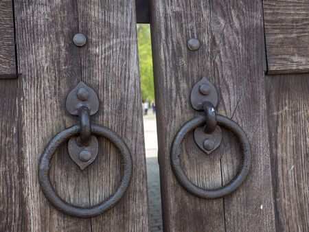 Old Wooden Gate with wrought iron rings