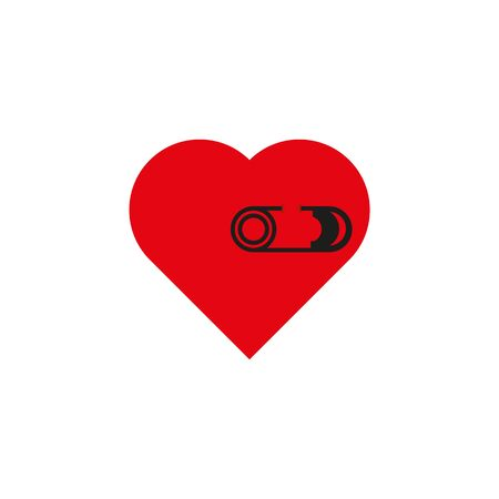 Red heart with black pin closed.