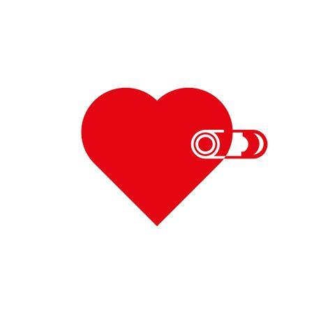 Red heart with white pin closed. Ilustração