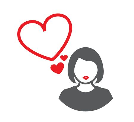Vector illustration of a female silhouette and red lips. There are several heart symbols nearby. Standard-Bild - 139017070