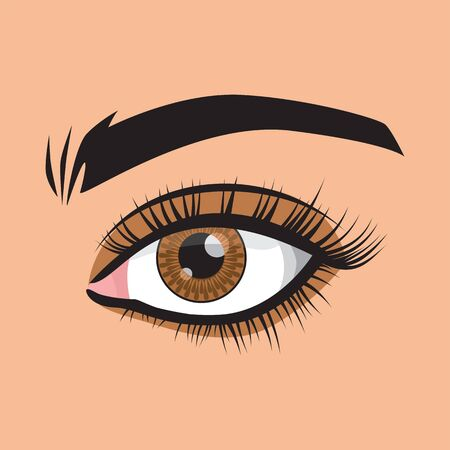 The heart is displayed in the pupil. Vector illustration. Beauty, image, beauty. Women's style. Brown eyes.