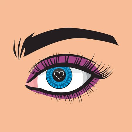 The heart is displayed in the pupil. Vector illustration. Beauty, image, beauty. Women's style. Blue eyes.
