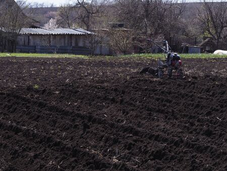 The farmer working with the cultivator. Agricultural industry.