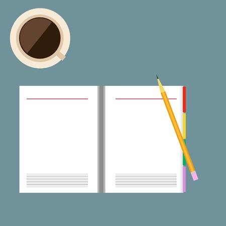 Yellow pencil and paper notebook with coffee cup Vector