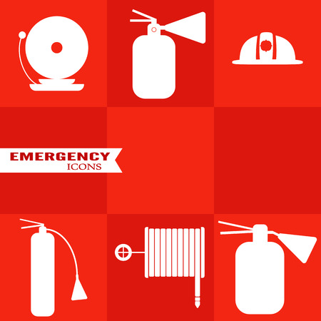 Set of fire vector icons on red background. Illustration on the theme of fire