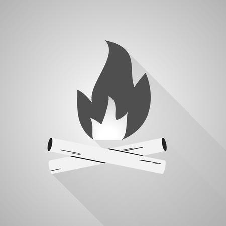 camping site: Bonfire icon, labels and badges. Travel emblems. Flat style