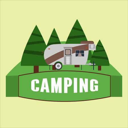 RV 캠핑 그림입니다. 벡터 일러스트 레이 션