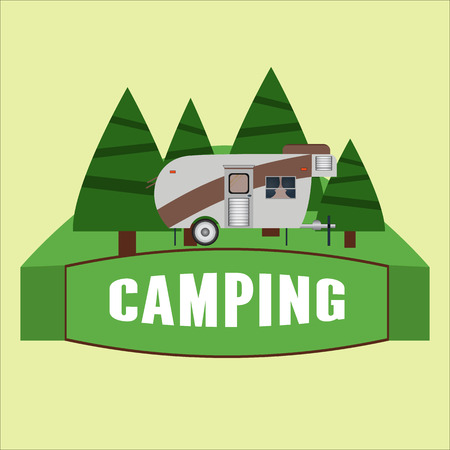 RV camping illustration. Vector illustration Çizim