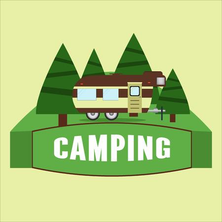 rv: RV camping illustration. Vector illustration Illustration