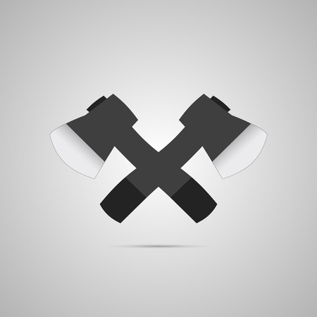 Crossed axes vector icon on gray background. Vector