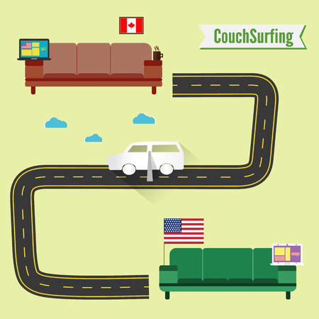 couch: Couch surfing concept. Share your couch. Funny paper car. Vector. From Canada to USA. Free weekend