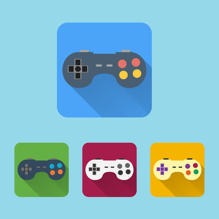 Joystick flat icons set. Round colorful buttons. Vector Vector