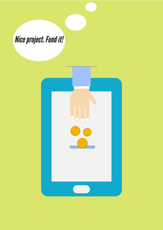 transferring: Flat design vector concept of crowdfunding via smartphone. Mobile device. Transferring Money and payment
