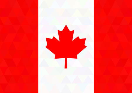 triangle flag: Canada flag on a triangle background. Design. Vector illustration.