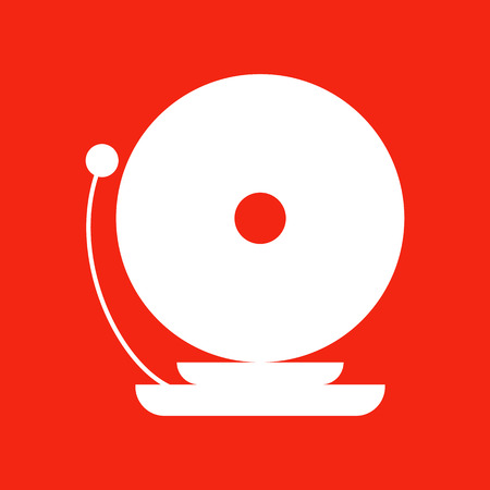 decibels: Fire Alarm Icon. Isolated illustration on red background