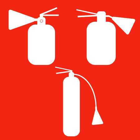 Set of Fire extinguishers isolated icons. Vector. Emergency icons.