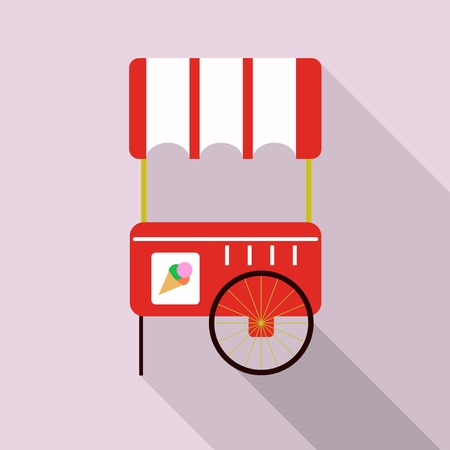 ice cream cart: Vector illustration of ice cream cart isolated in pink background.