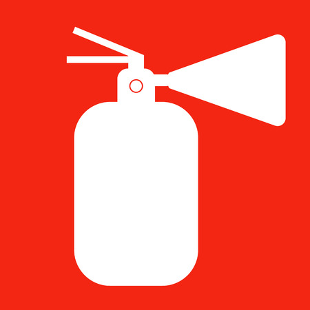 fire extinguisher label: Fire extinguisher isolated icon. Vector illustration