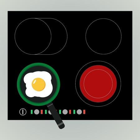 omelet: Vector fried egg in the electric range