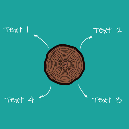 rings on a tree: Vector tree rings graphicwith arrows