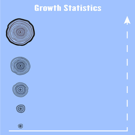 Vector tree rings graphic. indicators of growth