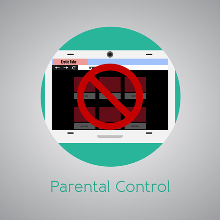 Parental control against adult sites for kids. Round icon.