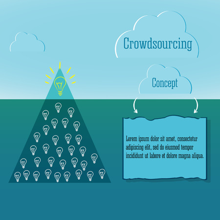 complicity: Crowdsourcing concept. Abstract triangle iceberg