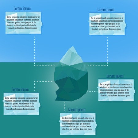 Polygonal iceberg glacier landscape vector illustration- low poly style. Triangle design. Winter theme. Vector