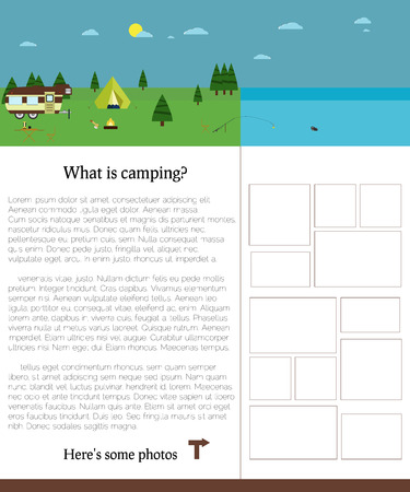 campsite: Camping template with text. Summer campsite photos. Illustration