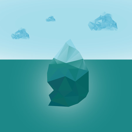 polygonal iceberg glacier landscape vector illustration- low poly style Çizim