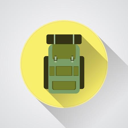 boy scouts tent: flat modern set of three hiking backpacks