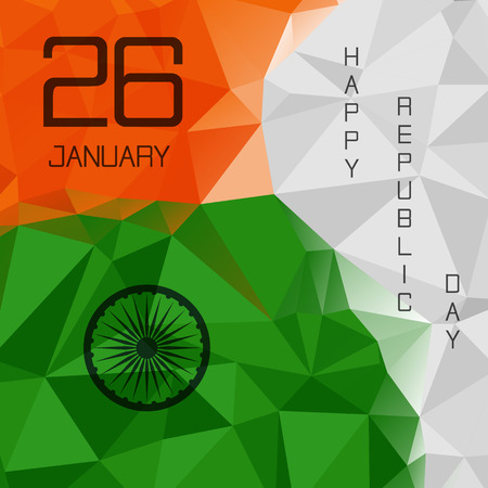26 january: Elegant Indian flag theme background of Happy Republic day. Polygonal style. Triangle design. 26 january. Vector