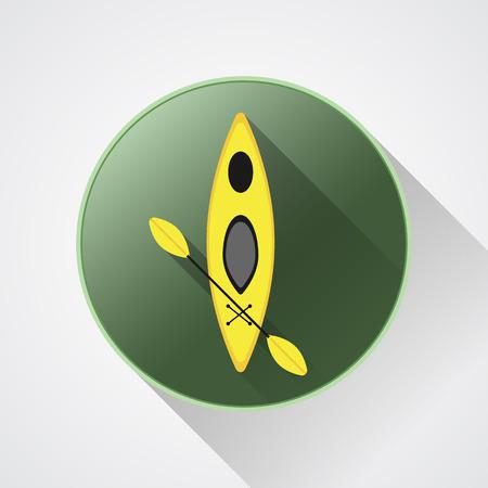 Canoe icon vector. Kayak illustration on a green button. Vector