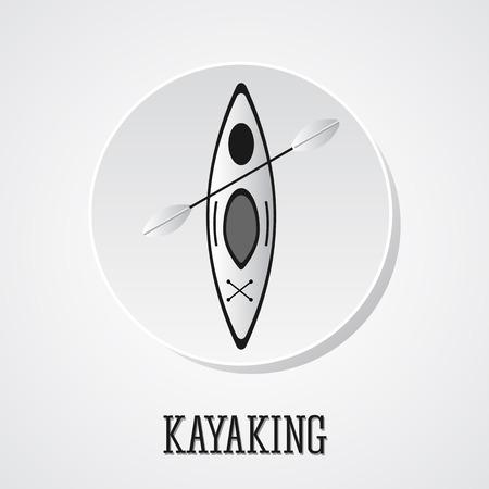 black white kayak: Canoe icon vector. Kayak illustration on a silver button.