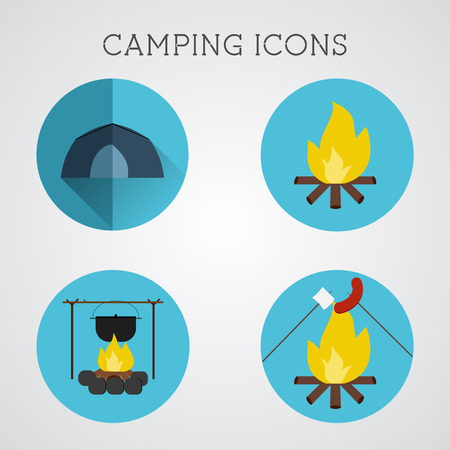 blue buttons: Set of camping symbols and icons. Flat design on blue buttons background. Summer vacation 2015 logo. Vector