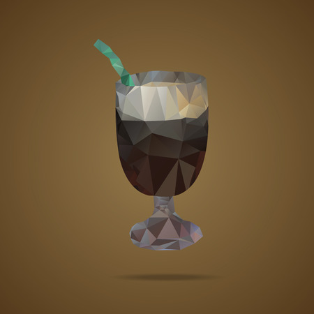 tubule: Polygonal cup of coffee with a green tubule on a brown background. Triangle design. Vector illustration
