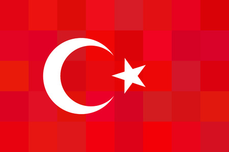 international flags: Turkey flag on red squares background. Foursquaredesign. Original proportions and high quality. Vector illustration