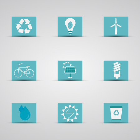Eco friendly icon set in lovely blue and silver design background. Logo and badge. Love for environmental Energy-saving lifestyle. Vector Vector