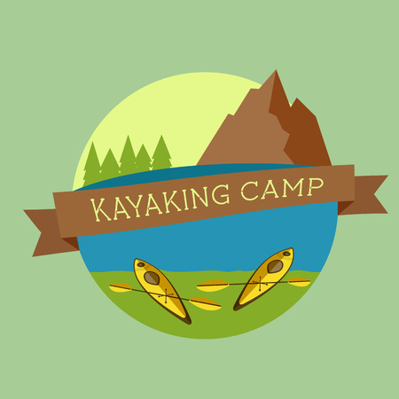 Kayaking camp icon. Expedition label and sticker. Unusual design. Summer outdoor adventures. Colorful. Vector Vector