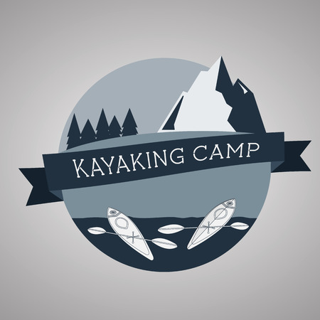 Kayaking camp icon. Expedition label and sticker. Unusual design. Summer outdoor adventures. Vector Vector