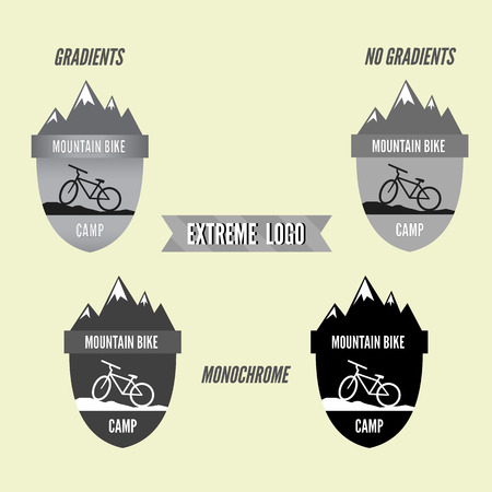 Set of mountain bike camping badge and banner. Bicycle for extreme lifestyle. Grayscale design with gradients, no gradients and monochrome. Vector illustration Vector