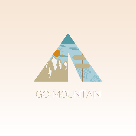 Mountain camp design template. Adventure symbol vector concept. Tent with landscape. Unique icon idea for recreation theme. Vector illustration. Vector