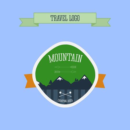 Mountain Camping logo, label and badge. Travel emblem. Vector illustration Vector